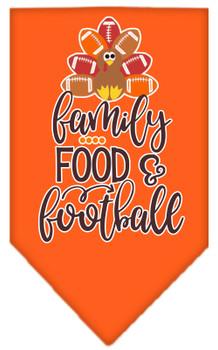 Family, Food, And Football Screen Print Bandana - Orange