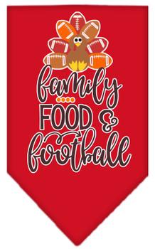 Family, Food, And Football Screen Print Bandana - Red