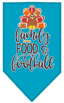 Family, Food, And Football Screen Print Bandana - Turquoise