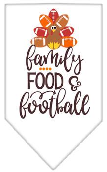 Family, Food, And Football Screen Print Bandana - White