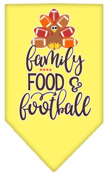 Family, Food, And Football Screen Print Bandana - Yellow