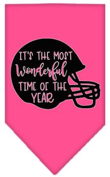 Most Wonderful Time Of The Year (football) Screen Print Bandana - Bright Pink