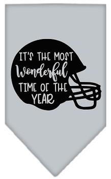 Most Wonderful Time Of The Year (football) Screen Print Bandana - Grey