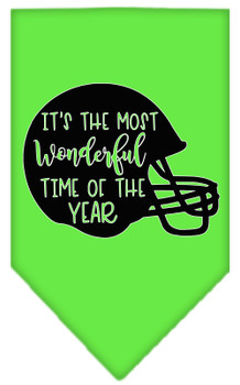 Most Wonderful Time Of The Year (football) Screen Print Bandana - Lime Green