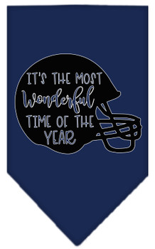 Most Wonderful Time Of The Year (football) Screen Print Bandana - Navy Blue