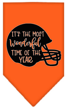 Most Wonderful Time Of The Year (football) Screen Print Bandana - Orange