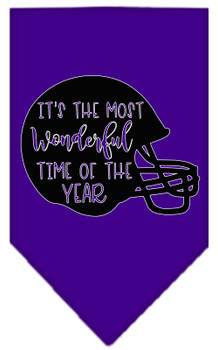 Most Wonderful Time Of The Year (football) Screen Print Bandana - Purple