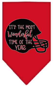 Most Wonderful Time Of The Year (football) Screen Print Bandana - Red