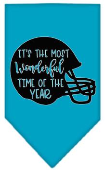 Most Wonderful Time Of The Year (football) Screen Print Bandana - Turquoise