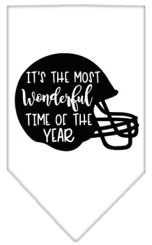 Most Wonderful Time Of The Year (football) Screen Print Bandana - White