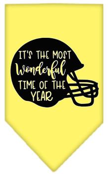 Most Wonderful Time Of The Year (football) Screen Print Bandana - Yellow
