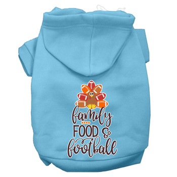 Family, Food, And Football Screen Print Dog Hoodie - Baby Blue
