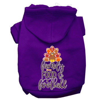 Family, Food, And Football Screen Print Dog Hoodie - Purple