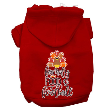 Family, Food, And Football Screen Print Dog Hoodie - Red