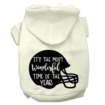 Most Wonderful Time Of The Year (football) Screen Print Dog Hoodie - Cream