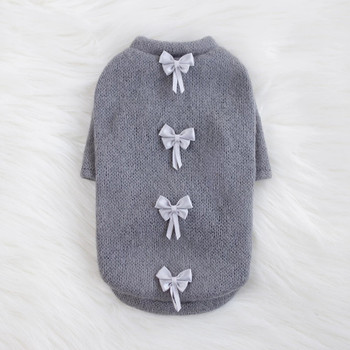 Grey Dainty Bow Dog Sweater