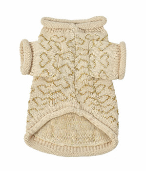 Heart to Heart Dog Sweater - Beige