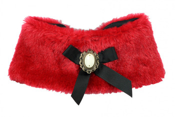 Luxurious Fur Pet Dog Cape - Red