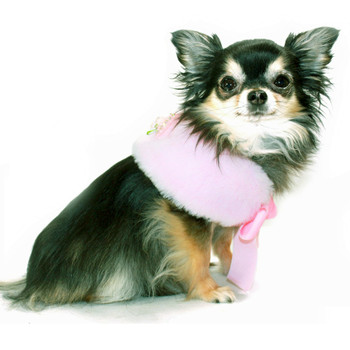 Luxurious Fur Pet Dog Cape - Pink