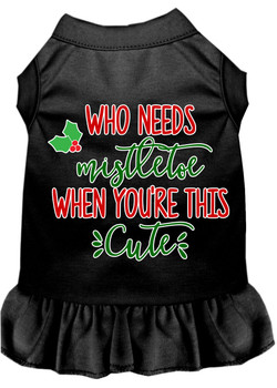 Who Needs Mistletoe Screen Print Dog Dress Black