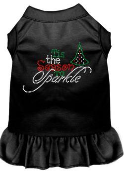 Tis The Season To Sparkle Rhinestone Dog Dress - Black