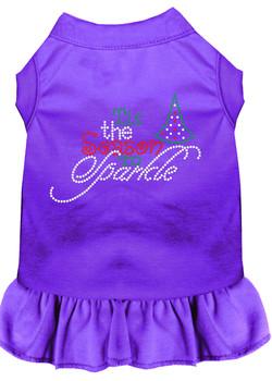 Tis The Season To Sparkle Rhinestone Dog Dress - Purple