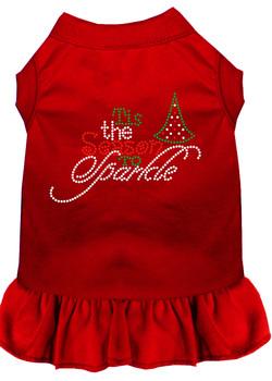 Tis The Season To Sparkle Rhinestone Dog Dress - Red
