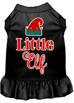 Little Elf Screen Print Dog Dress - Black