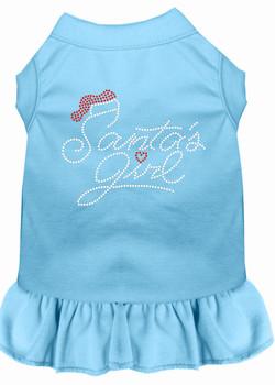 Santa's Girl Rhinestone Dog Dress - Baby Blue
