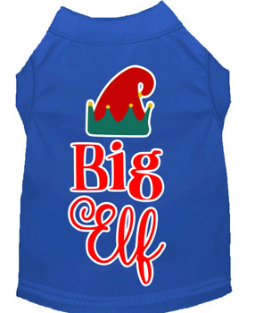 Big Elf Screen Print Dog Shirt - Blue