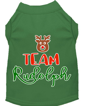 Team Rudolph Screen Print Dog Shirt - Green