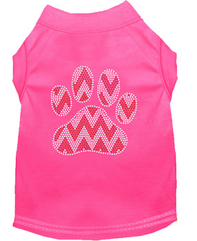 Candy Cane Chevron Paw Rhinestone Dog Shirt - Bright Pink