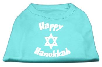 Happy Hanukkah Screen Print Shirt - Aqua
