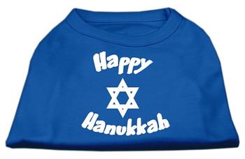 Happy Hanukkah Screen Print Shirt - Blue