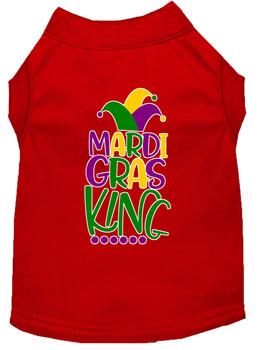 Mardi Gras King Screen Print Mardi Gras Dog Shirt - Red