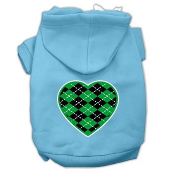 Argyle Heart Green Screen Print Pet Hoodies Baby Blue