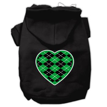 Argyle Heart Green Screen Print Pet Hoodies Black