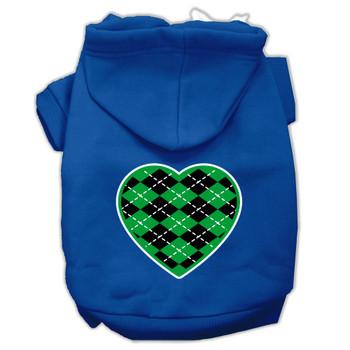 Argyle Heart Green Screen Print Pet Hoodies Blue