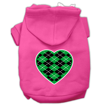 Argyle Heart Green Screen Print Pet Hoodies Bright Pink