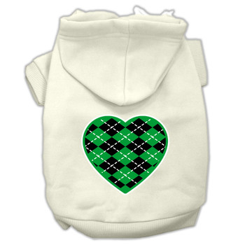 Argyle Heart Green Screen Print Pet Hoodies Cream