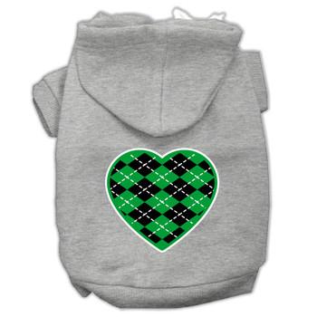 Argyle Heart Green Screen Print Pet Hoodies Grey