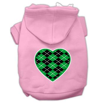 Argyle Heart Green Screen Print Pet Hoodies Light Pink