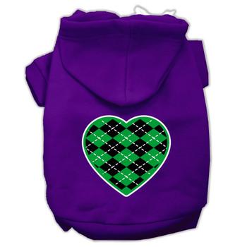 Argyle Heart Green Screen Print Pet Hoodies Purple