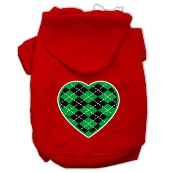 Argyle Heart Green Screen Print Pet Hoodies Red