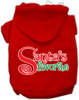 Santas Favorite Screen Print Pet Hoodie - Red