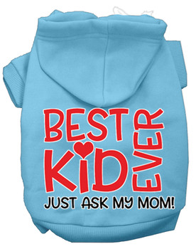 Ask My Mom Screen Print Dog Hoodie - Baby Blue