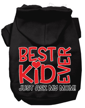 Ask My Mom Screen Print Dog Hoodie - Black