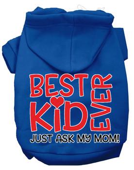 Ask My Mom Screen Print Dog Hoodie - Blue
