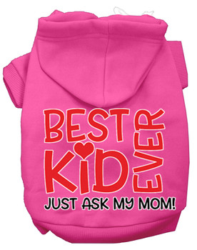 Ask My Mom Screen Print Dog Hoodie - Bright Pink