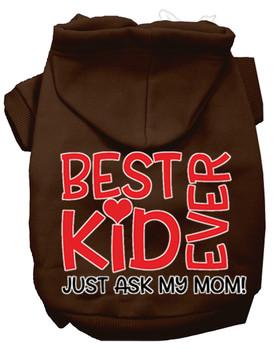 Ask My Mom Screen Print Dog Hoodie - Brown